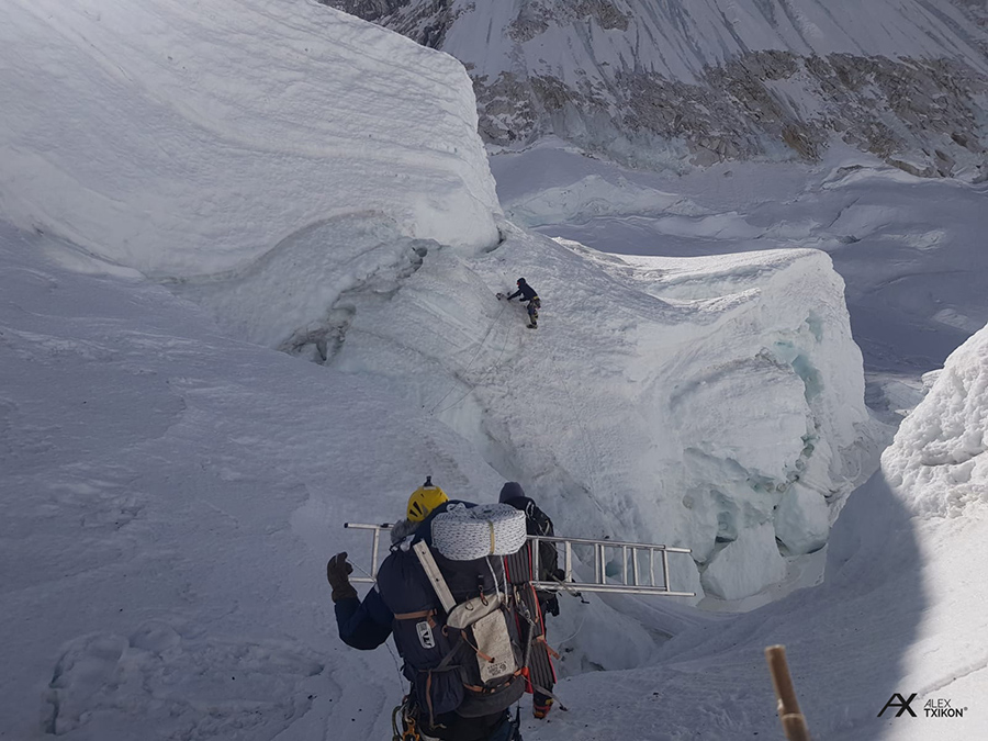 progressing through the icefall